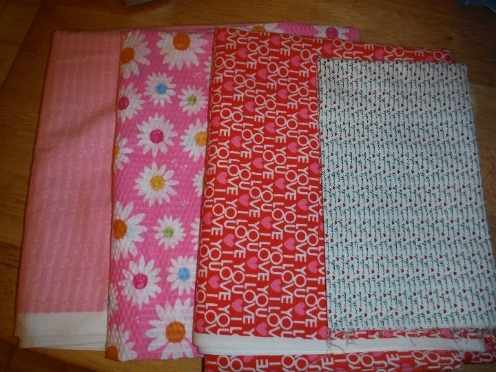 Hearts and Flowers Pink Fabric