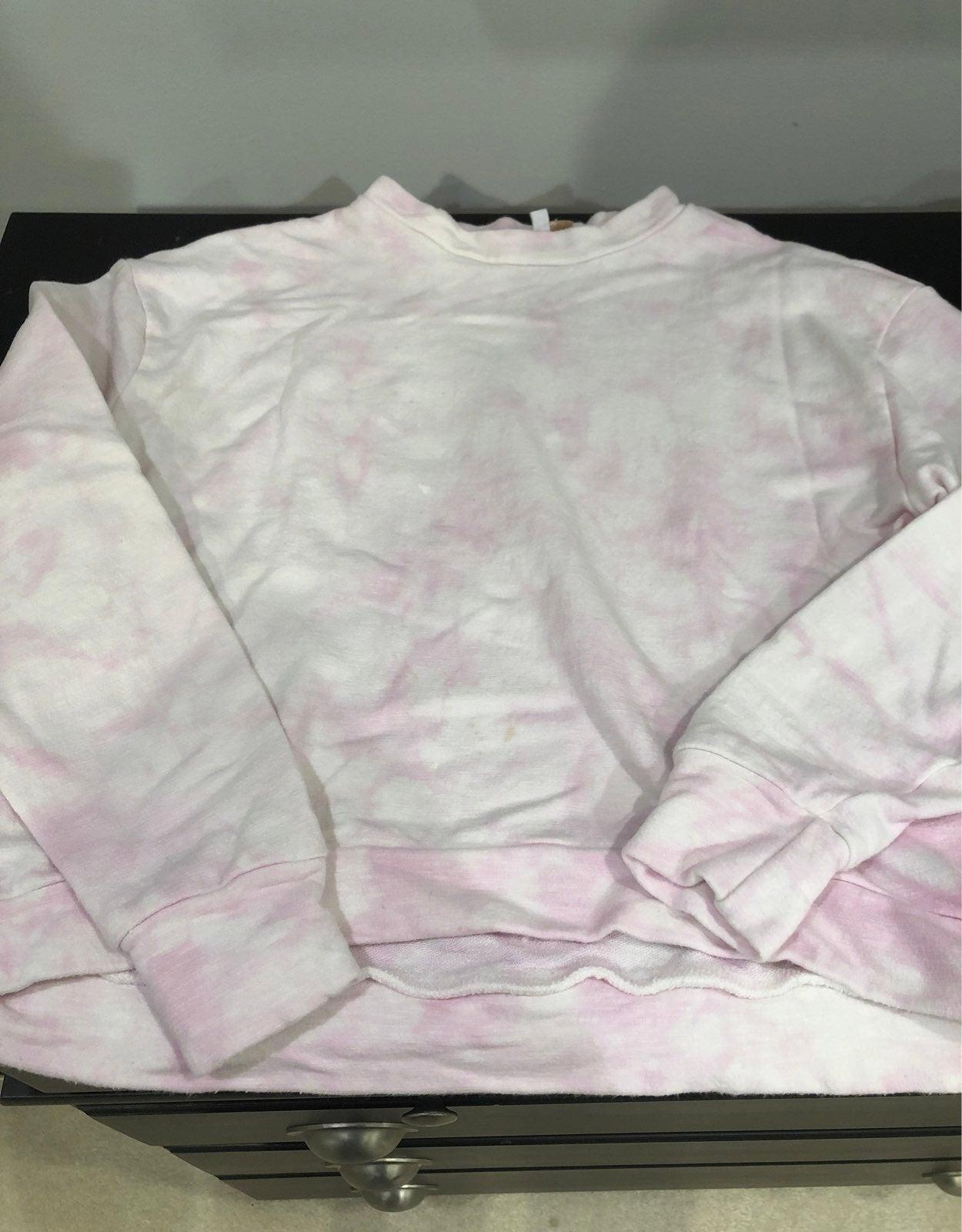 Pale Pink Tie Dye Crop Sweatshirt
