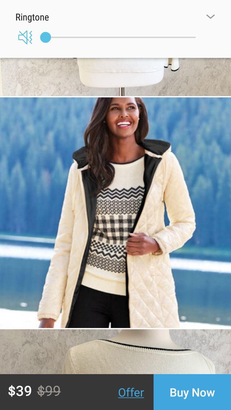 NWOT Talbots Ivory & Blk Chevron Sweater
