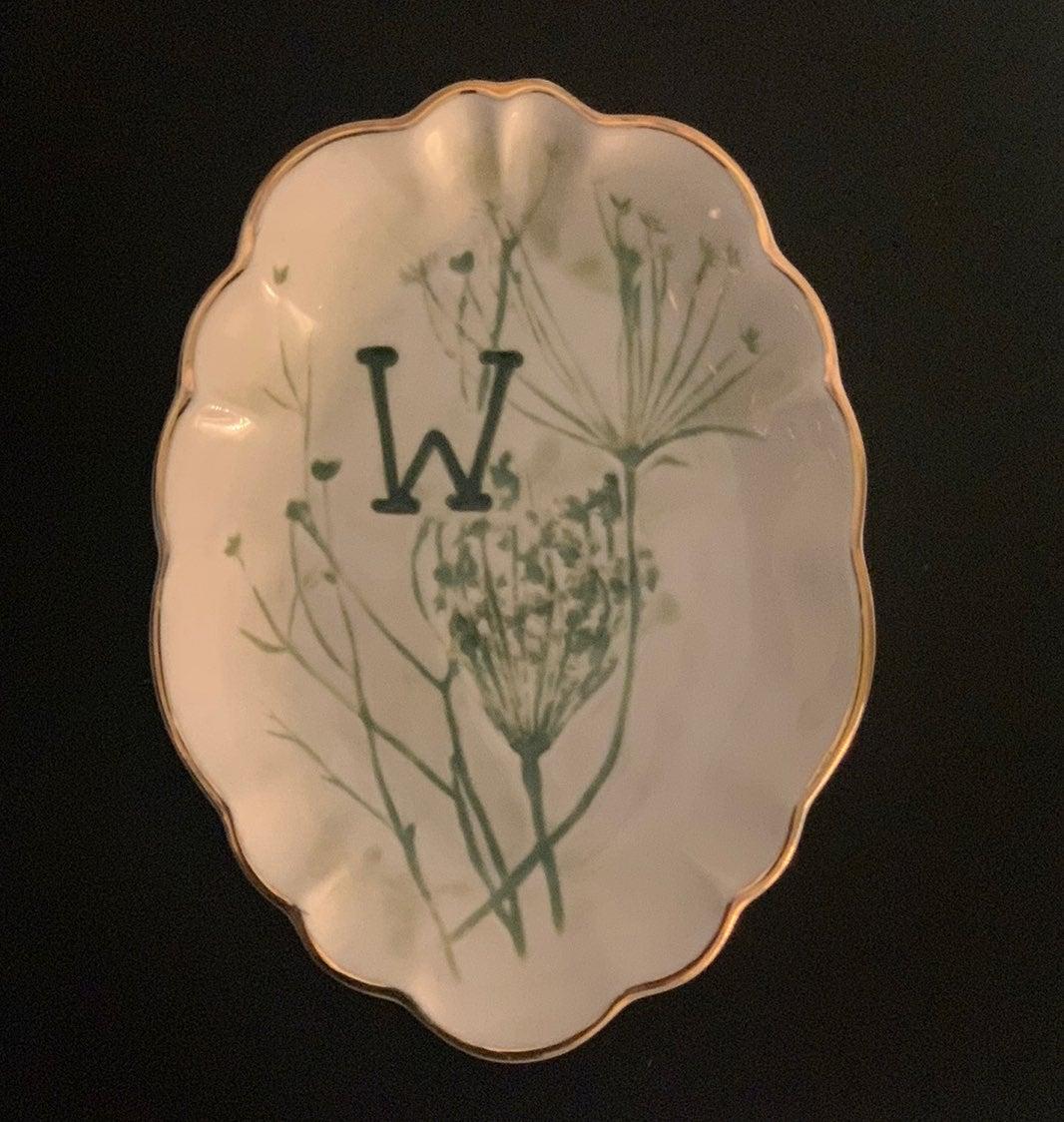 "Anthropologie ""W"" Botanical Trinket Dish"