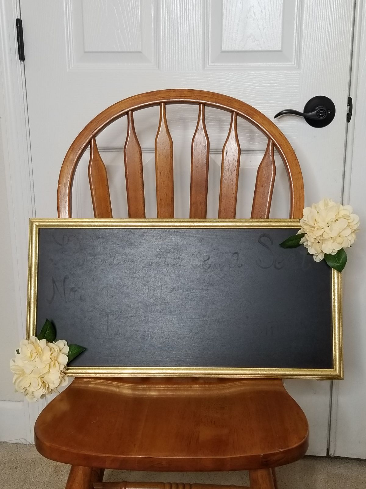 Gold colored frame with Blush hydrangea