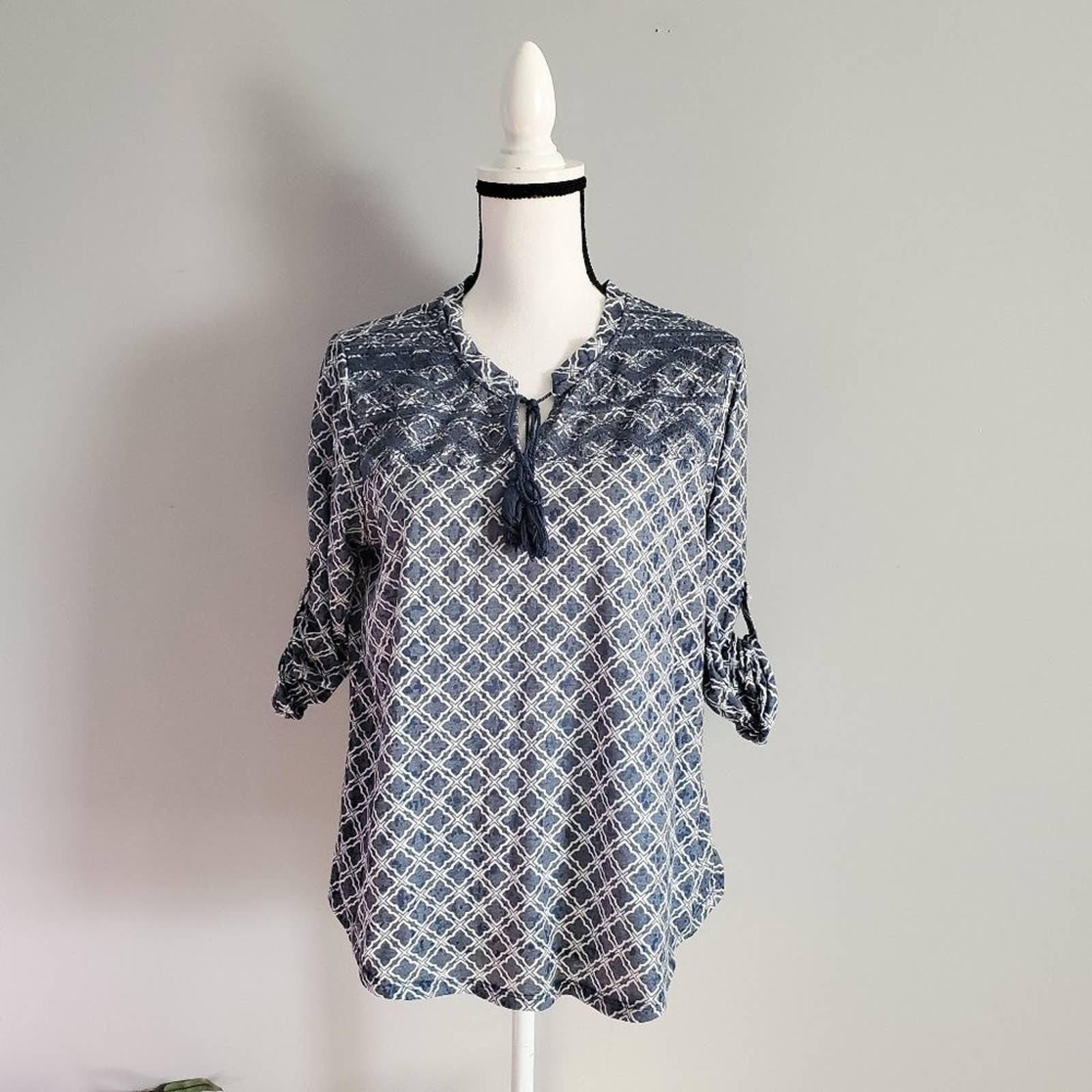 Max Jeans 3/4 Sleeve Boho Shirt Top L
