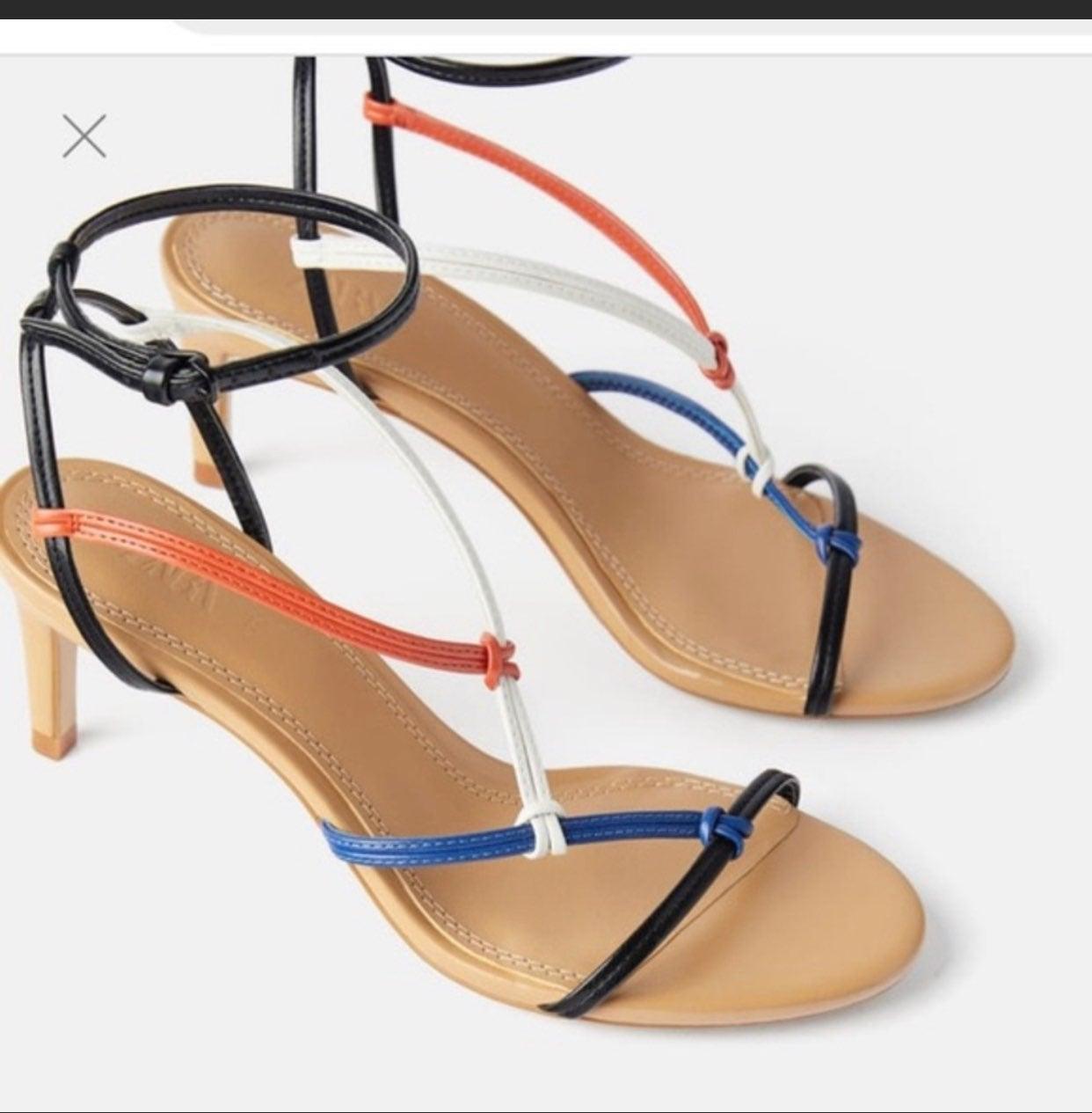 ZARA Multi color mid heel strappy sandal