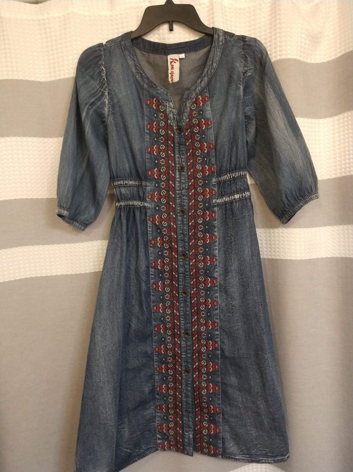 Keer Qiaowa Boho Midi Denim Dress Large