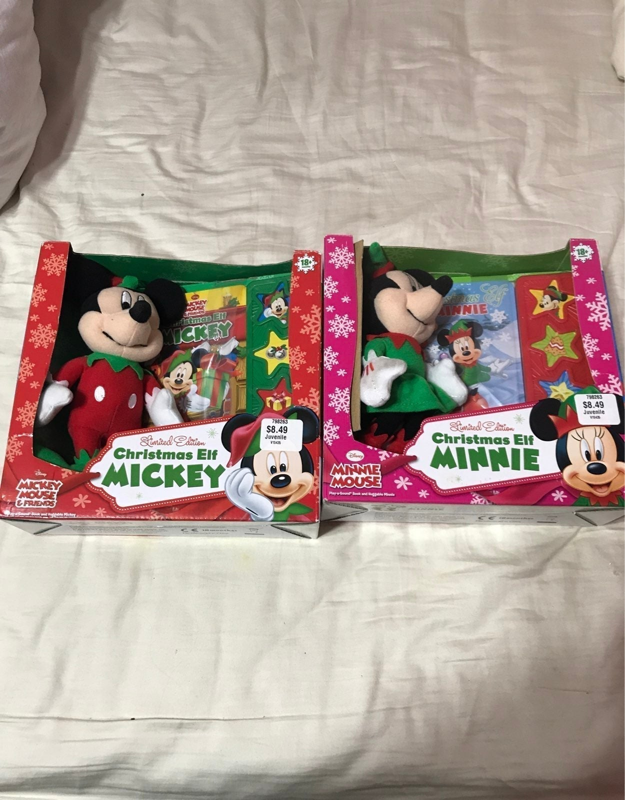 2 Disney Christmas Elf Mickey Plush book