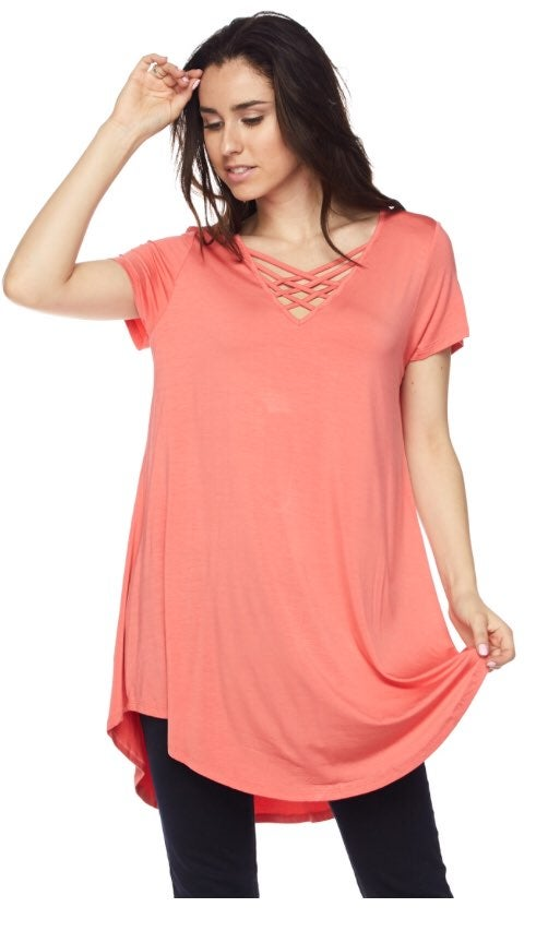 Plus Size Criss Cross V Neck Coral