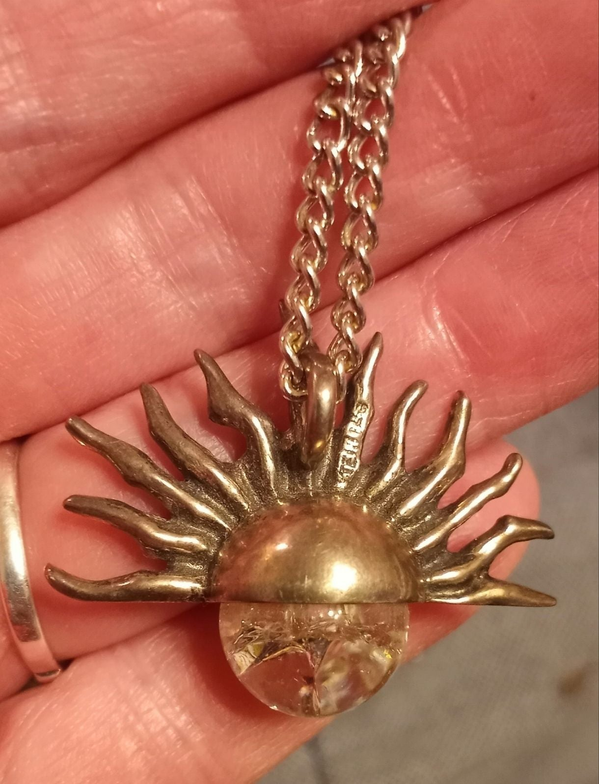 Vintage Sun Crystal Pendant and Necklace