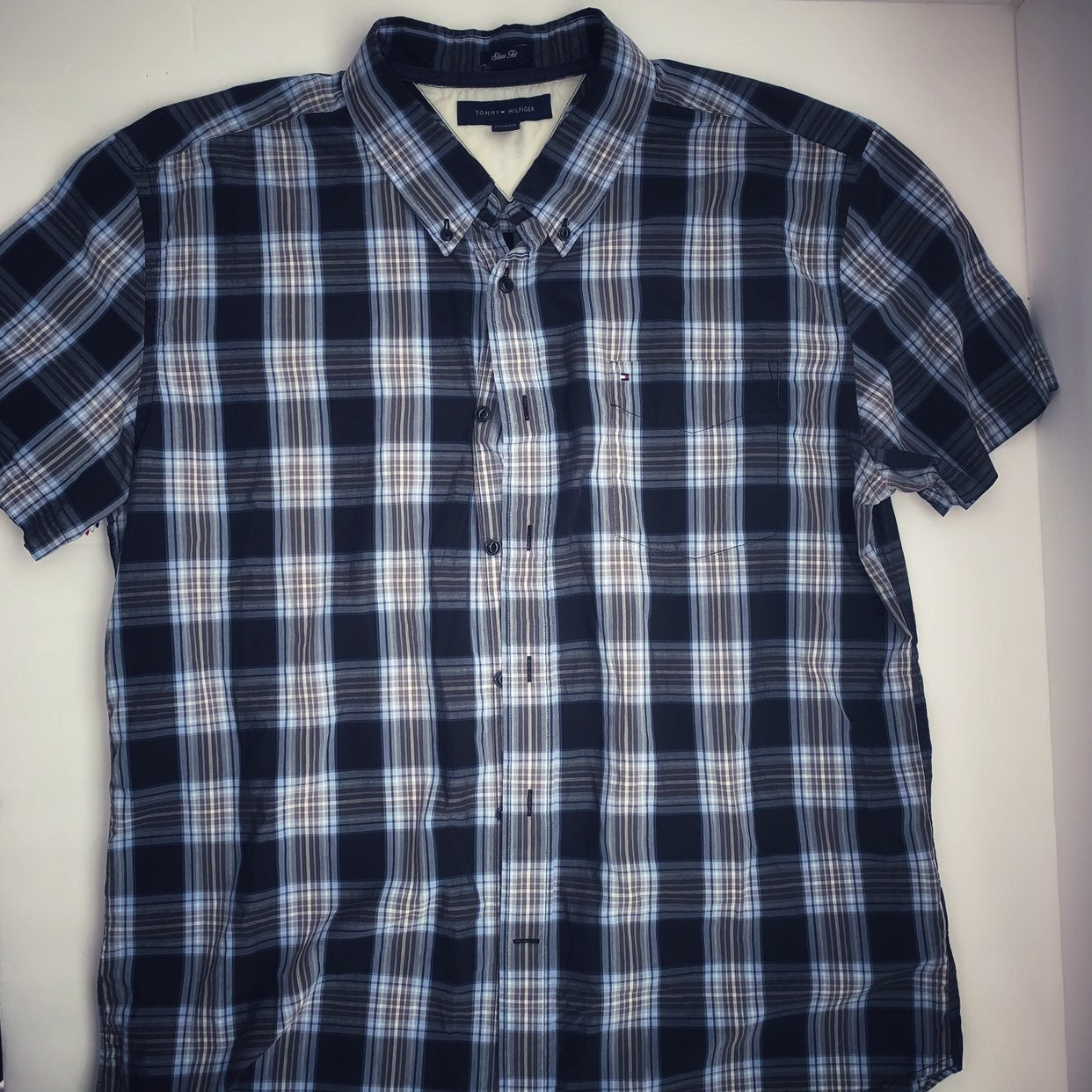Tommy Hilfiger Plaid Button Up XL Slim F