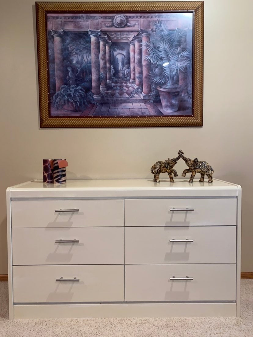 White and silver dresser