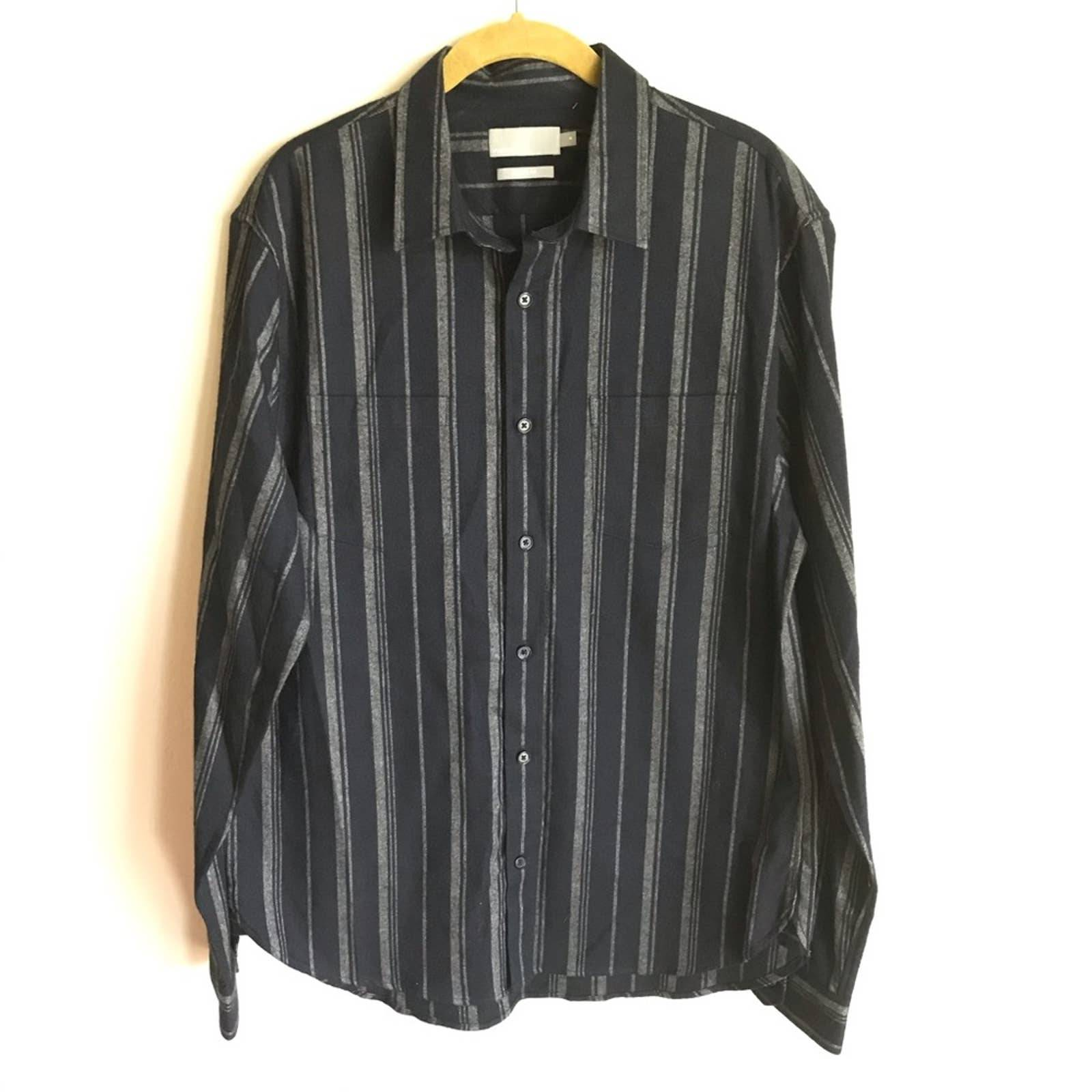 Vince Blue Gray Stripped Flannel Shirt