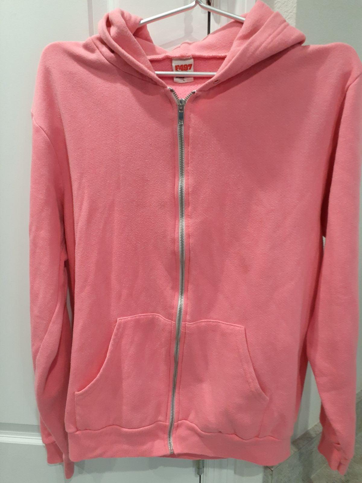American Apparel F497 Pink Zip Up Hoodie