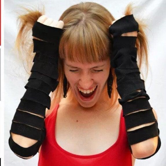 Black Cotton Cut Out Long Mummy Gloves