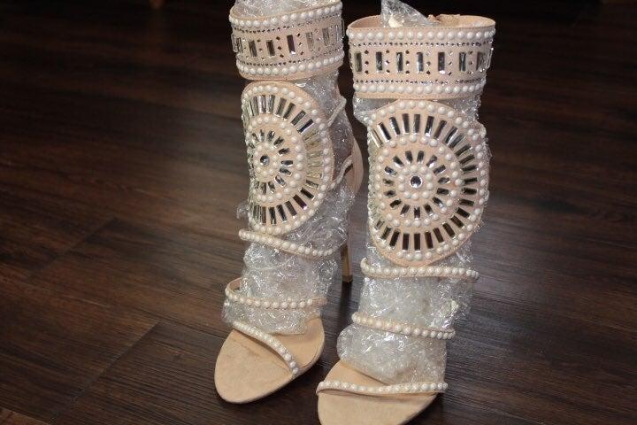 Embellished taupe heels