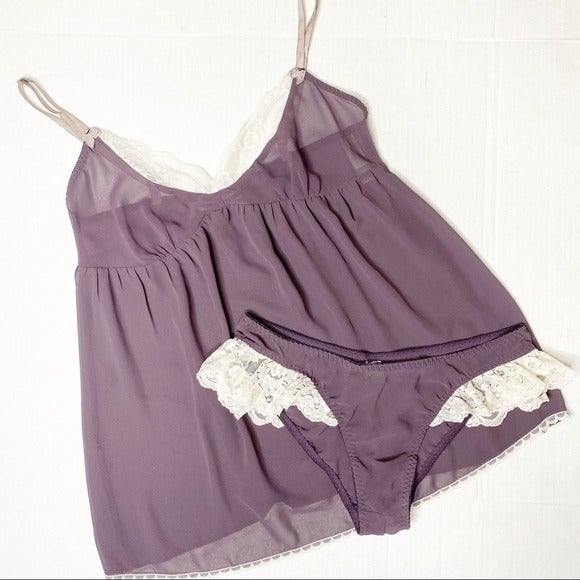 Purple Chiffon Cream Lace 2 Piece Teddy