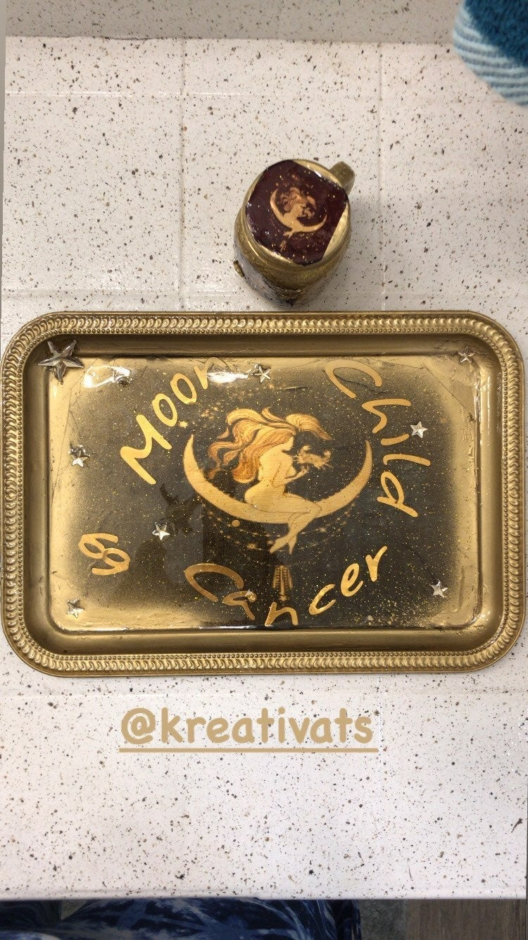 Gold Cancer Moon Child Zodiac Rolling Tr