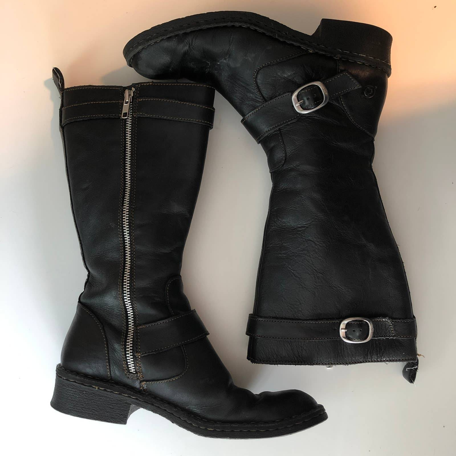 Born Riding Boot Leather Zip Buckle Moto