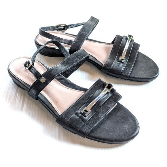 TARYN ROSE Liliana Black Leather Sandals