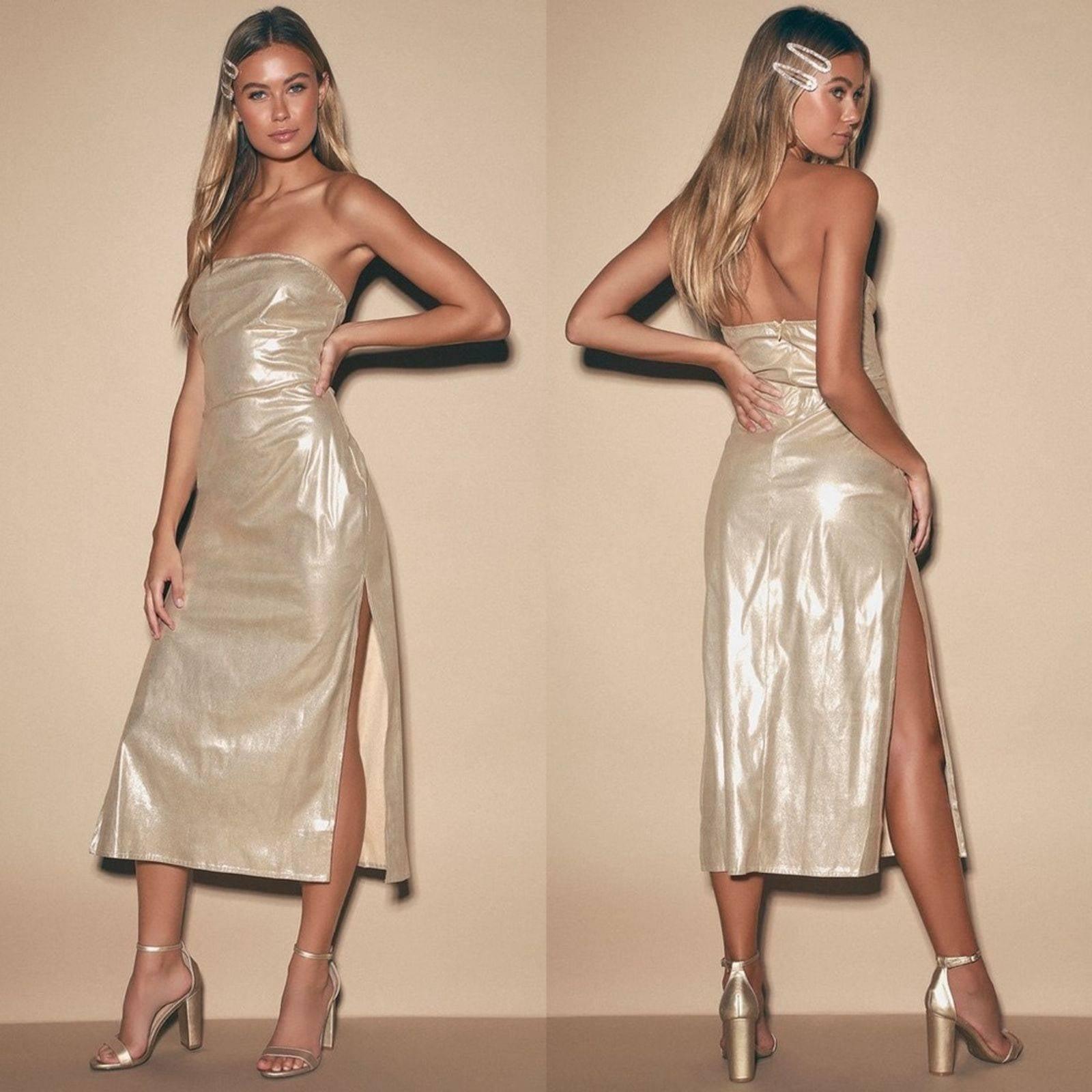 Lulus Metallic Gold Strapless Midi Dress