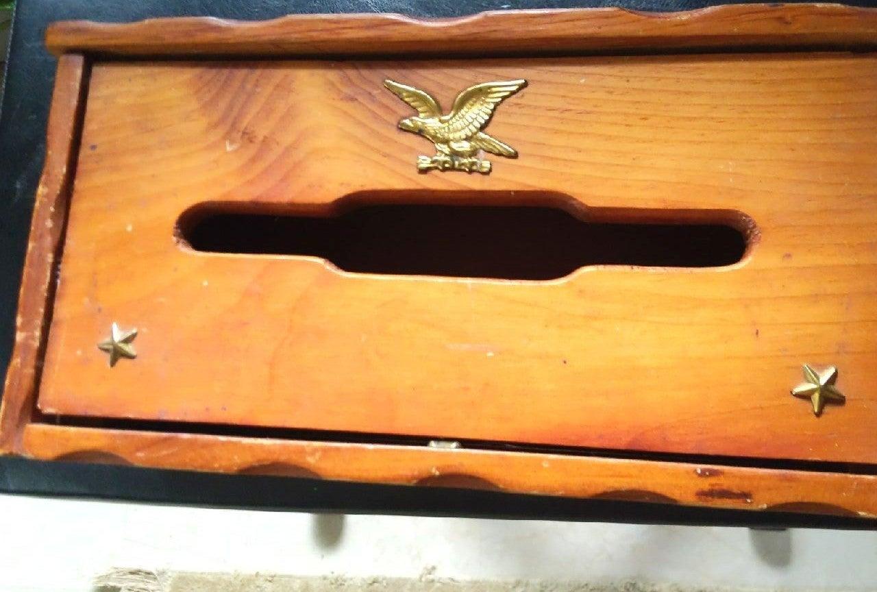 Antique Wooden Mailbox w/ Brass Eagle