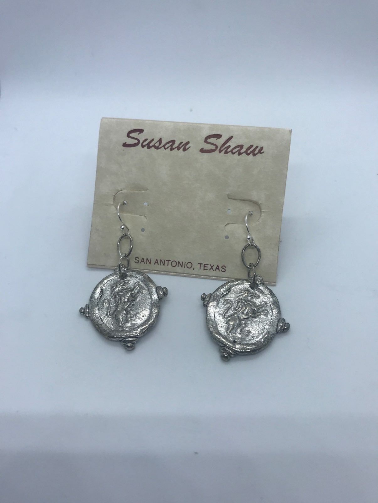 New Susan Shaw Standing Lion Earrings