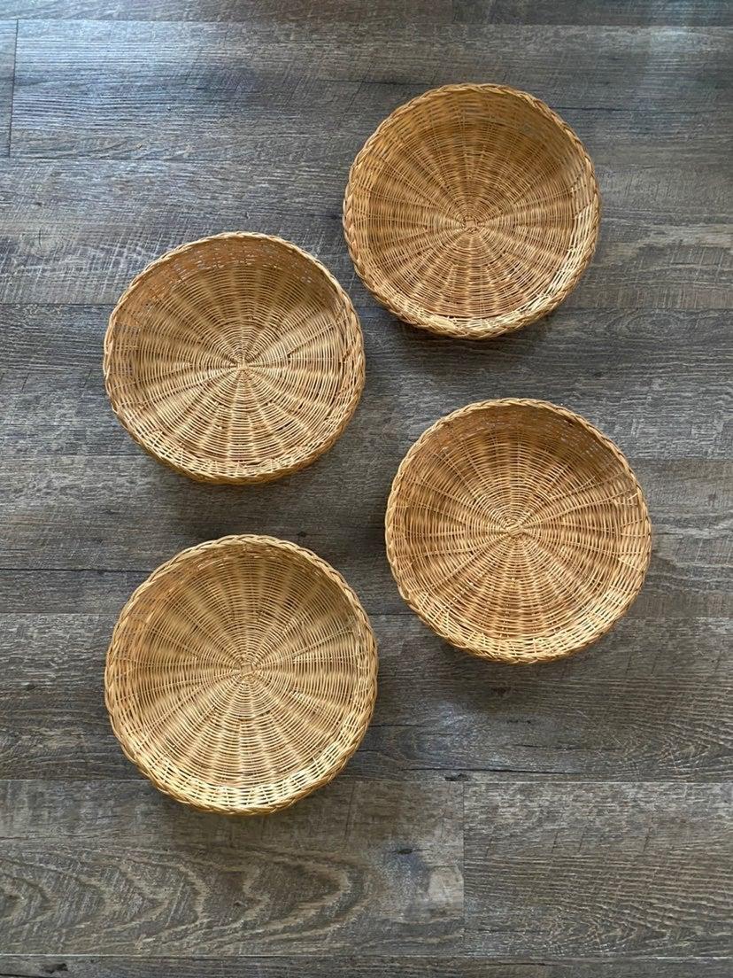 Wicker Rattan Paper Plate Holders Boho