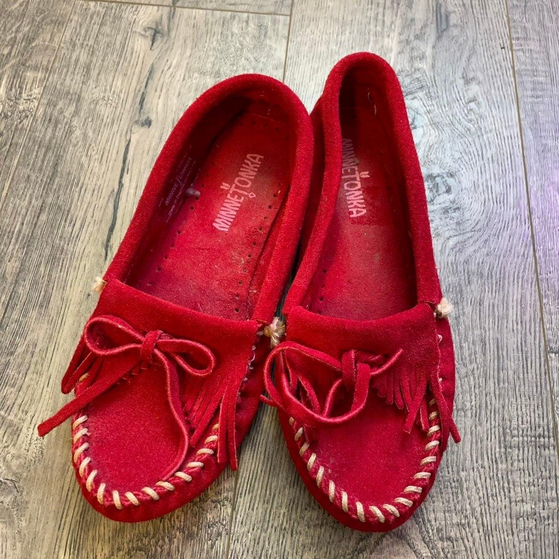 Red Minnetonka moccasins
