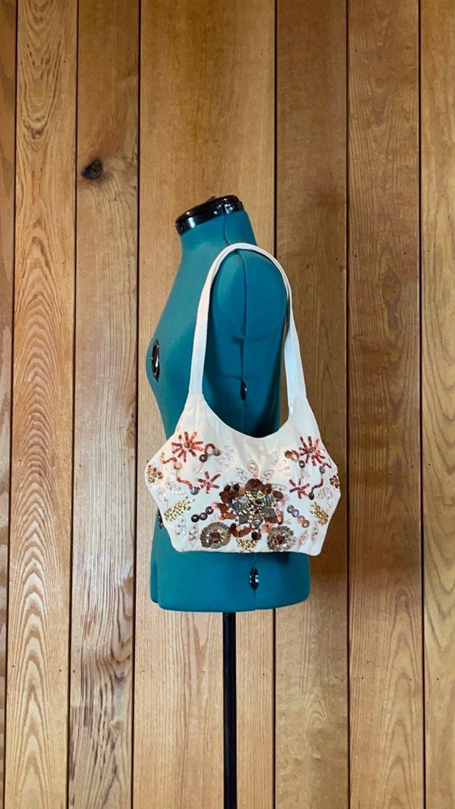 Rue21 Natural Canvas Beaded Shoulder Bag