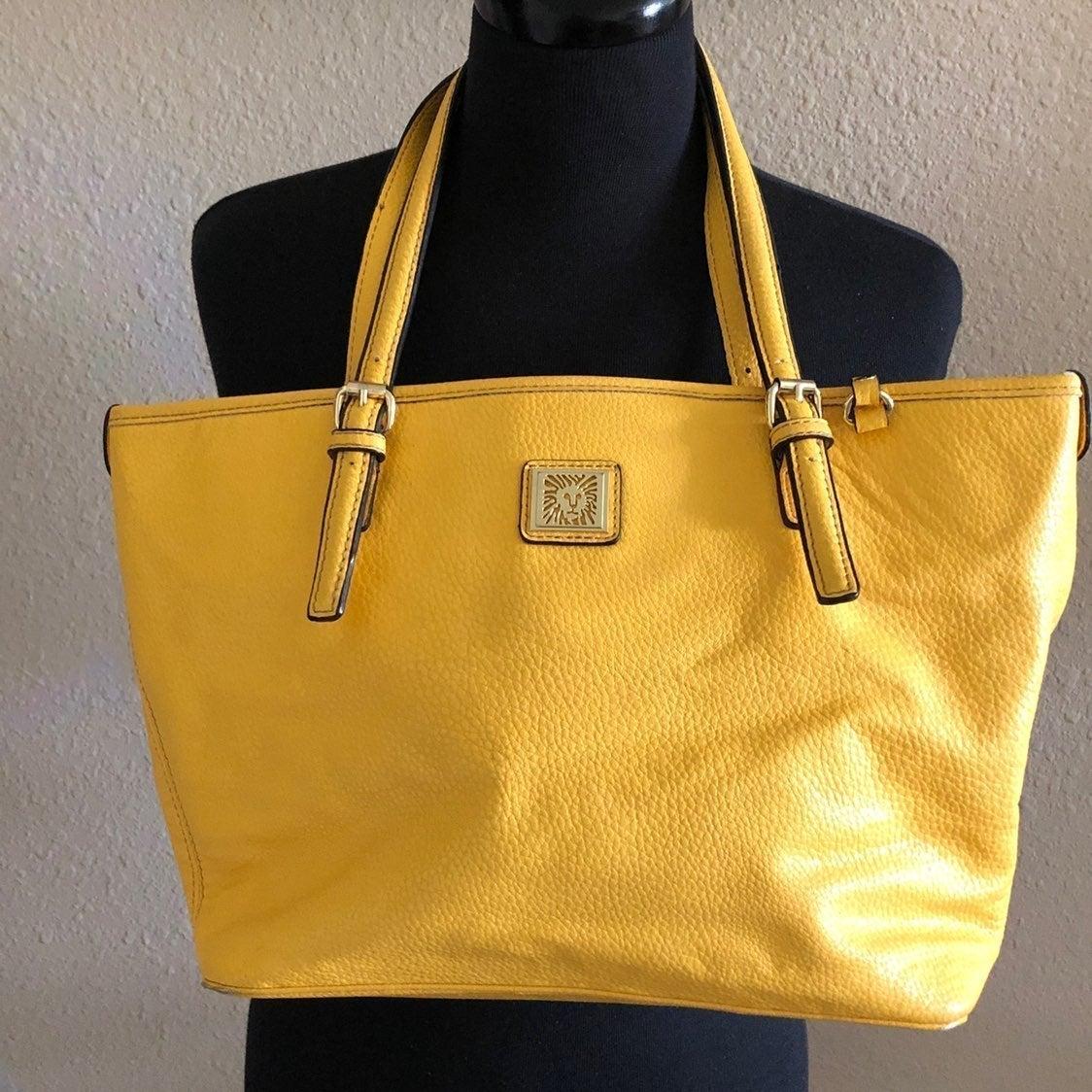 Anne Klein adjustable strap purse yellow