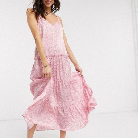 Topshop Satin Floral Tiered Dress 2