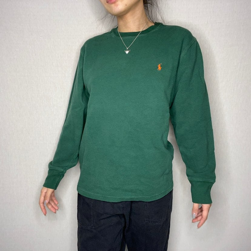 Green polo waffle thermal