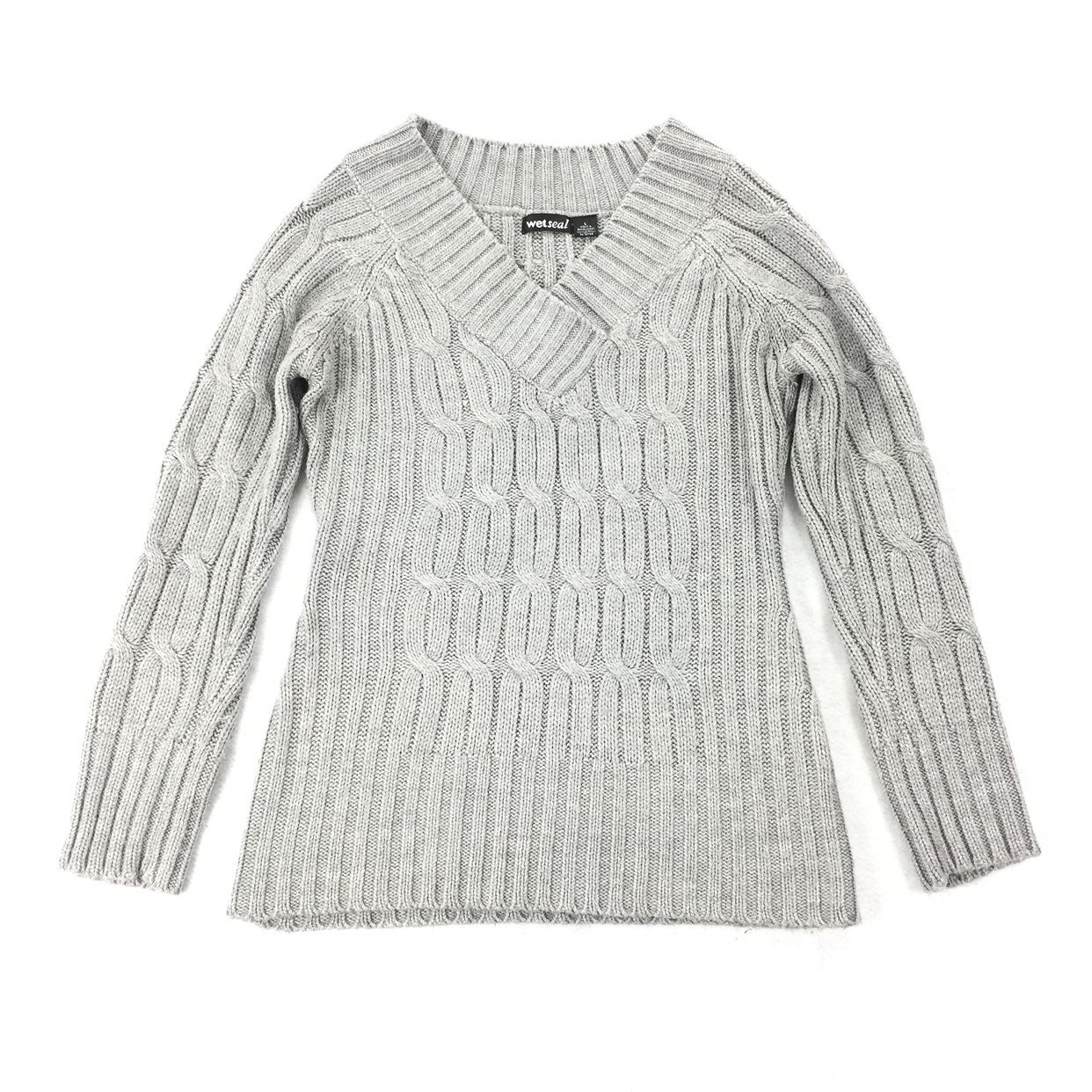 Wet Seal Cable Knit V-Neck Sweater