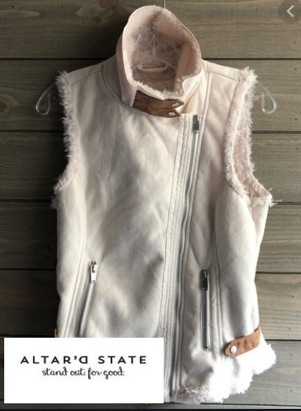 Altar'd State Feaux Leather Ivory Vest