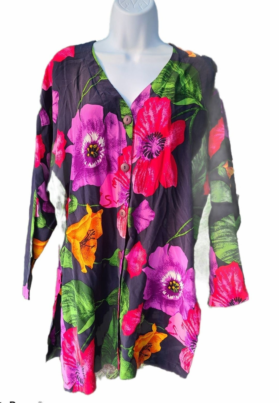 Vintage Alfred Sung silk floral tunic 4