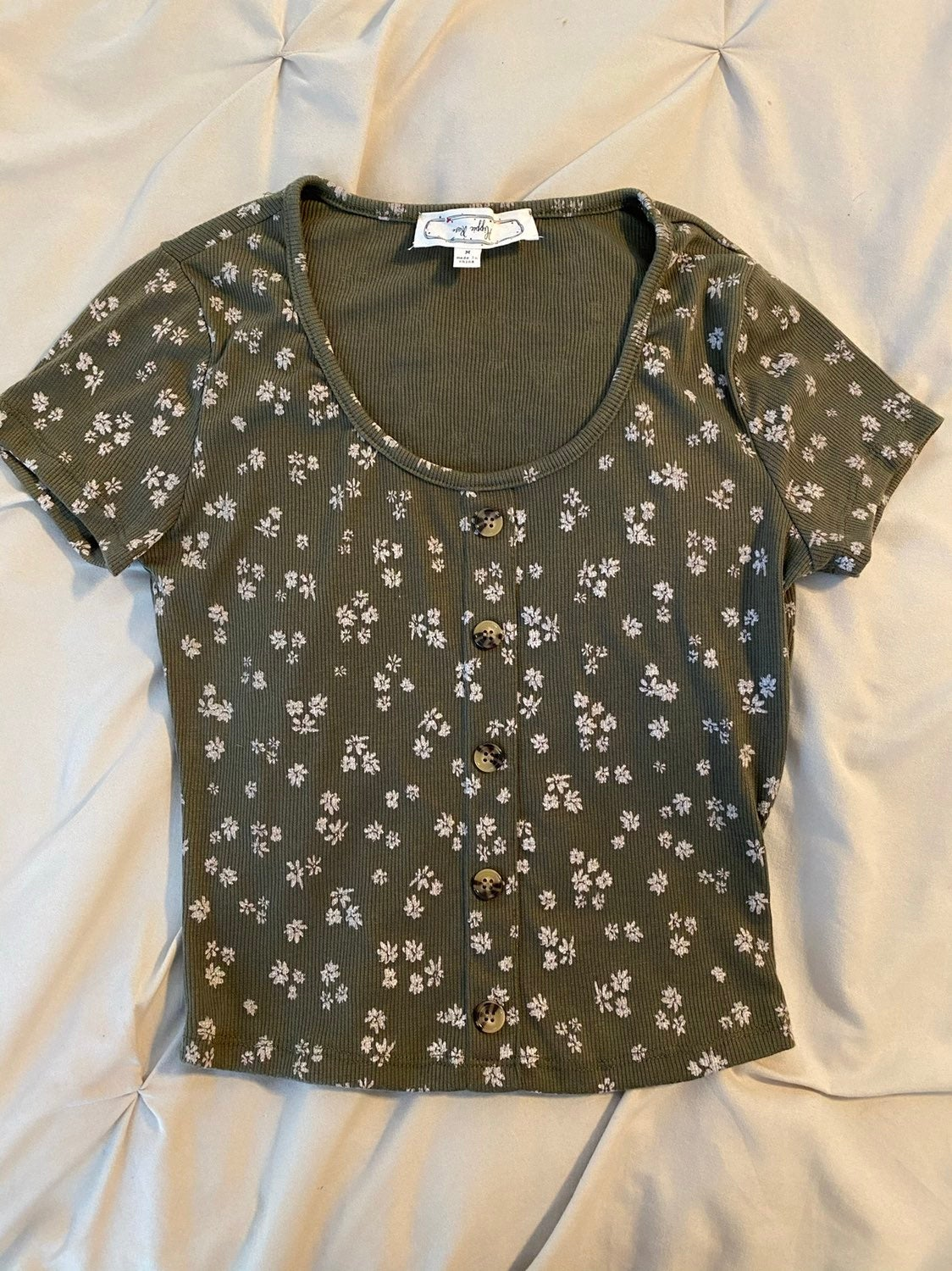 Olive Green Flower Cropped Top
