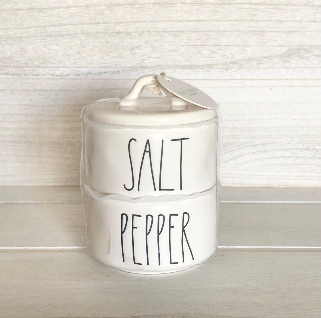 Rae Dunn salt and pepper stacker