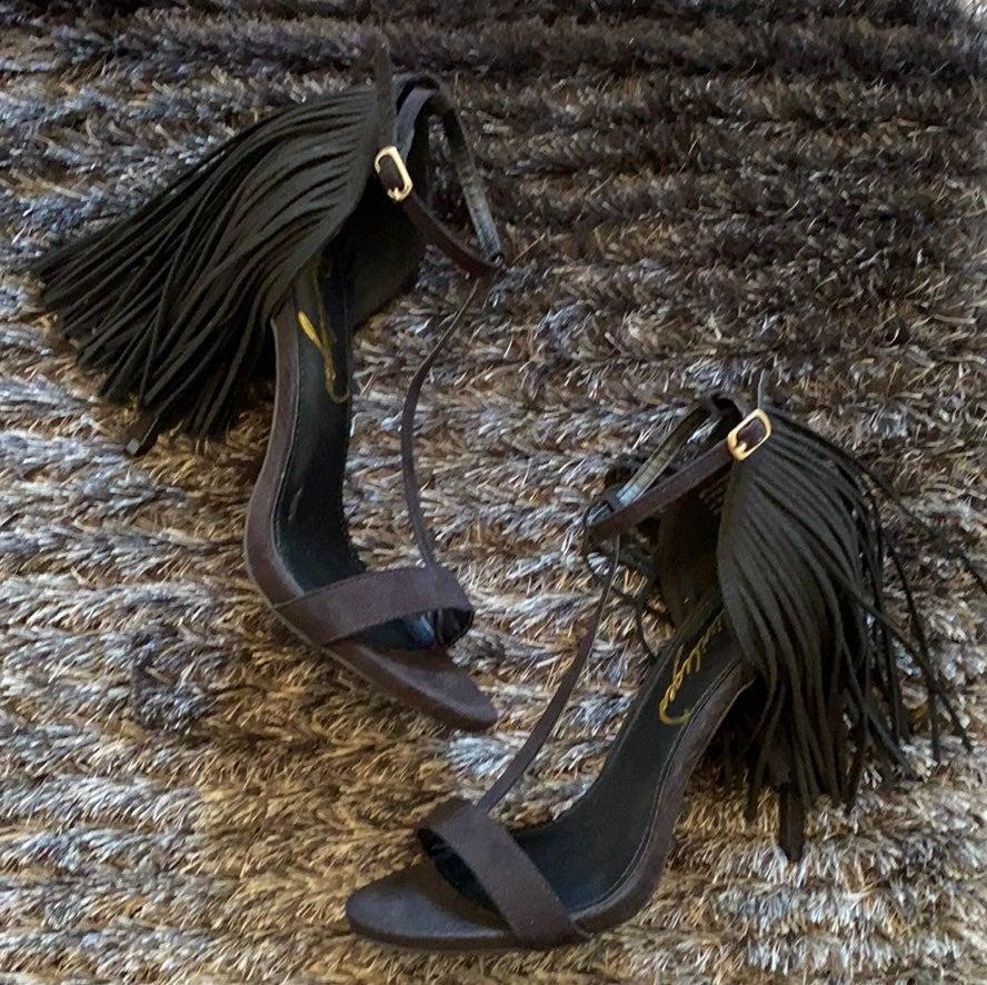 T-Strap Fringe Sandals