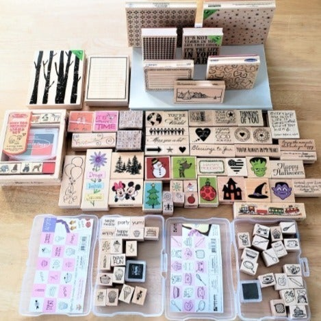Wood Mount Stamps & 5 Rubber Sheets
