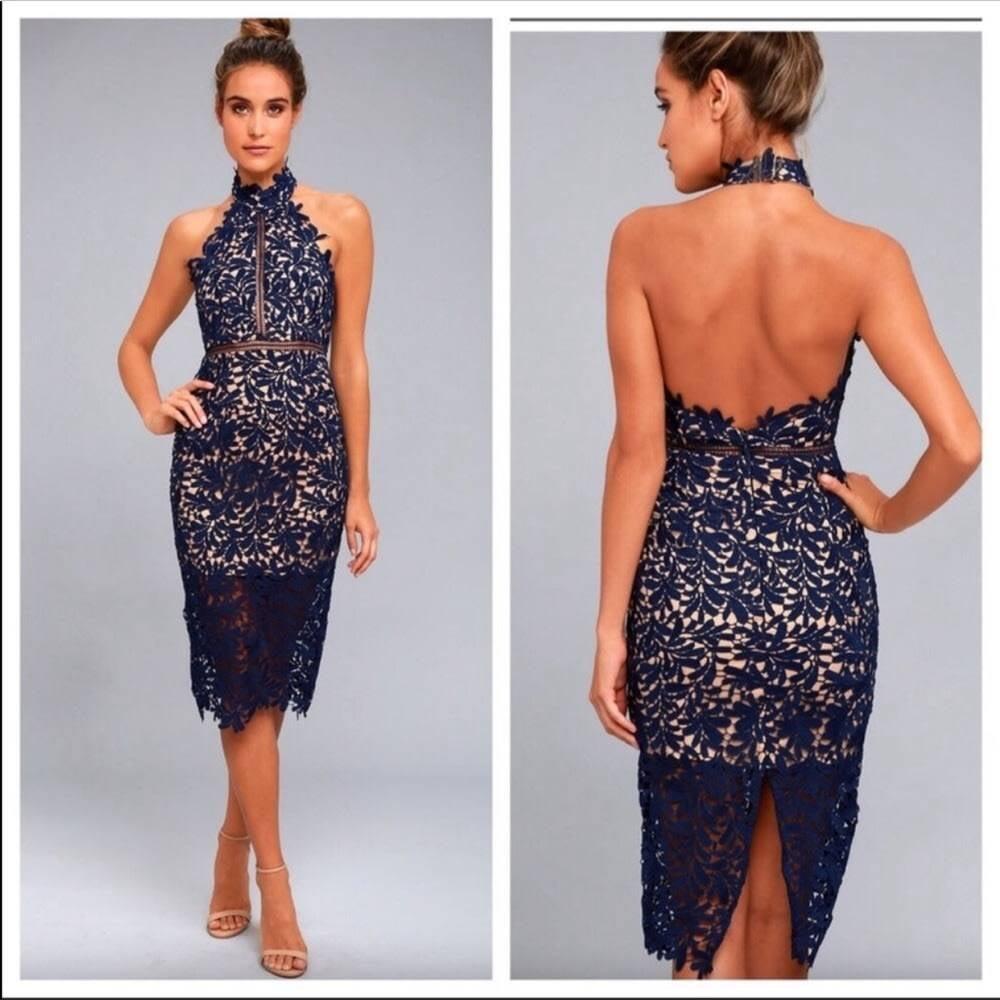 Lulus  Devine Destiny Lace Midi Dress XS