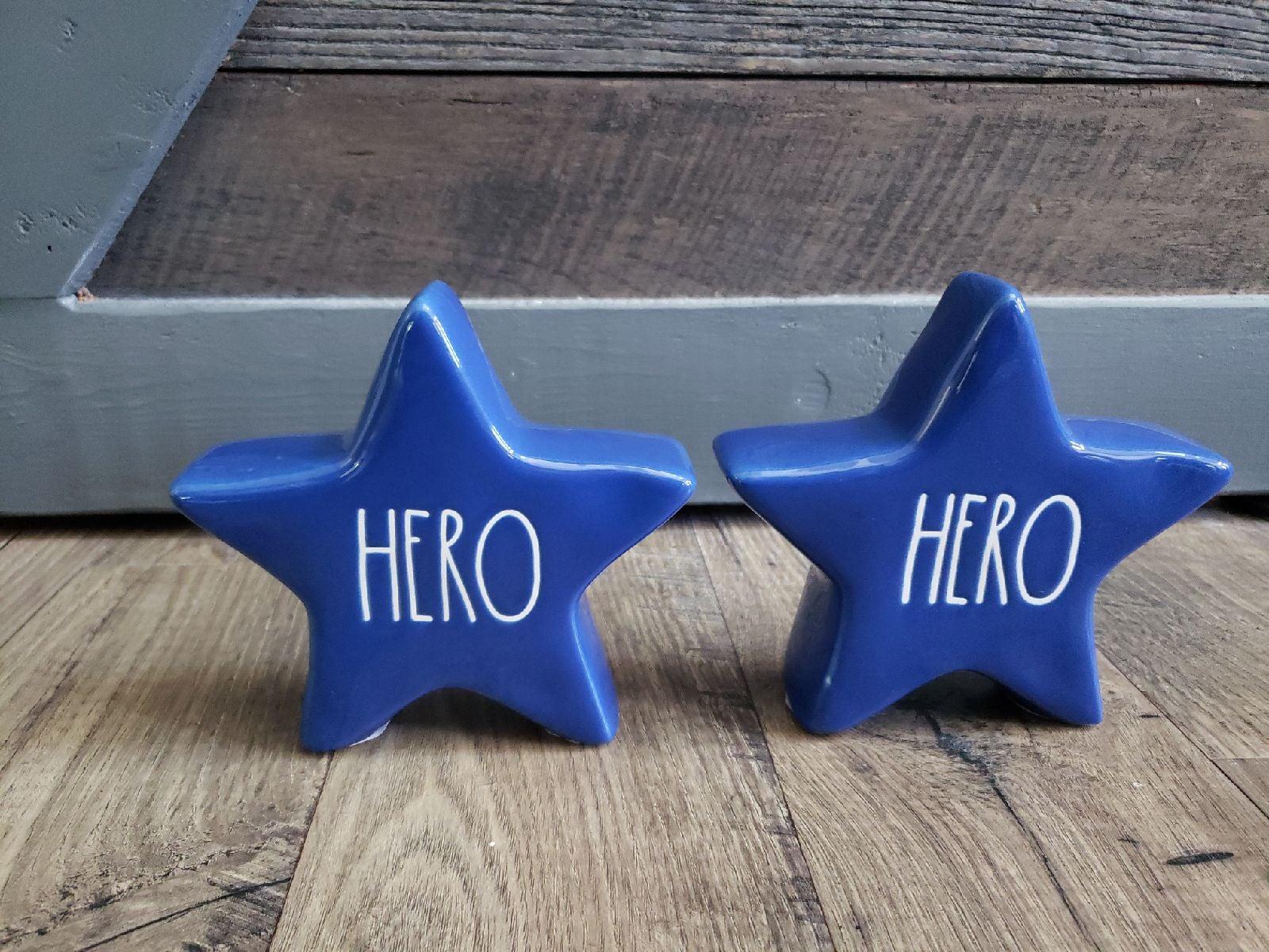 Rae Dunn HERO BLUE Star lot of 2