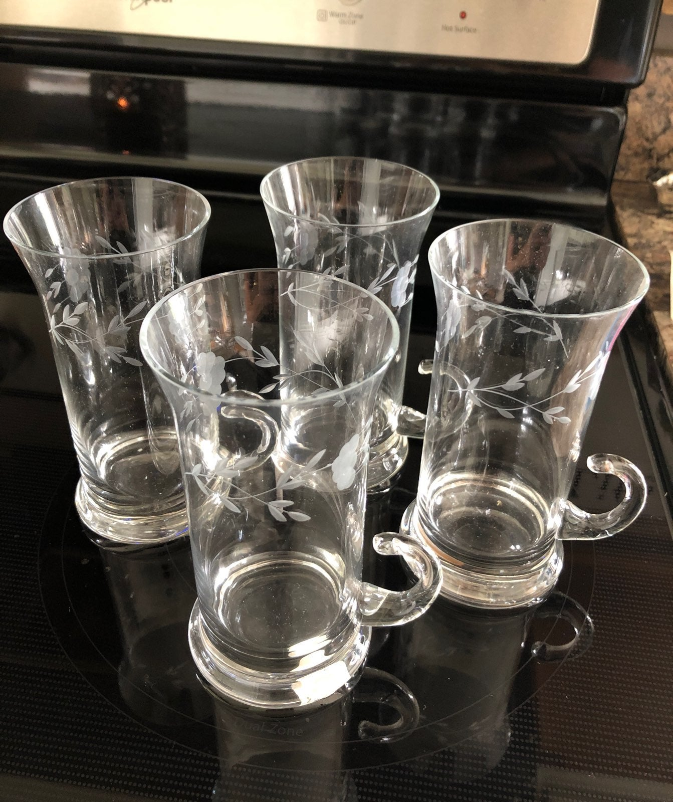 4pc PH Handblown Crystal Irish Mugs