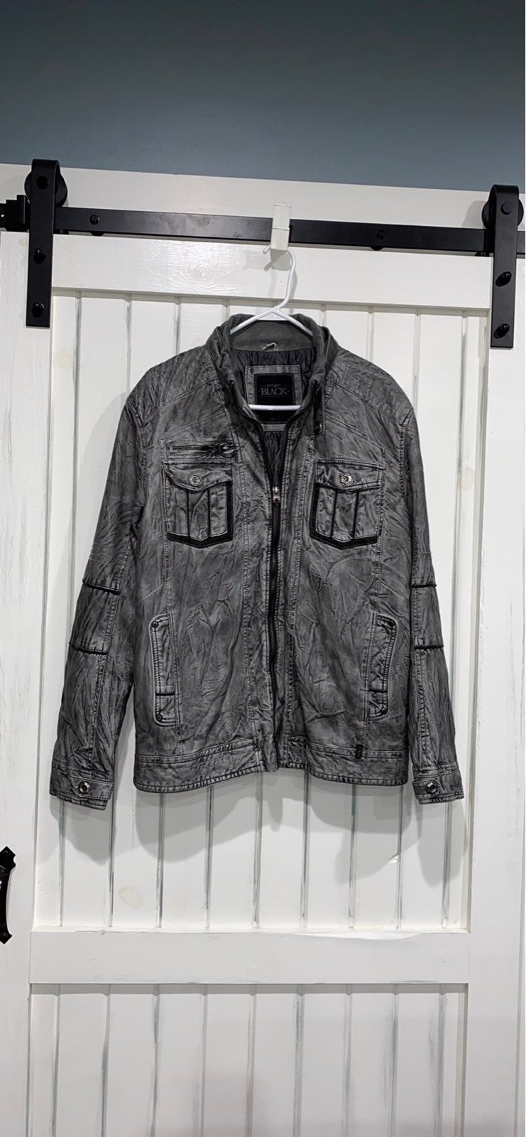 Buckle Black Grey Leather Jacket