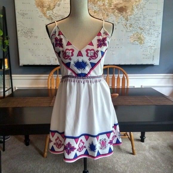 Luxmi White Dress w/ Beaded Waist