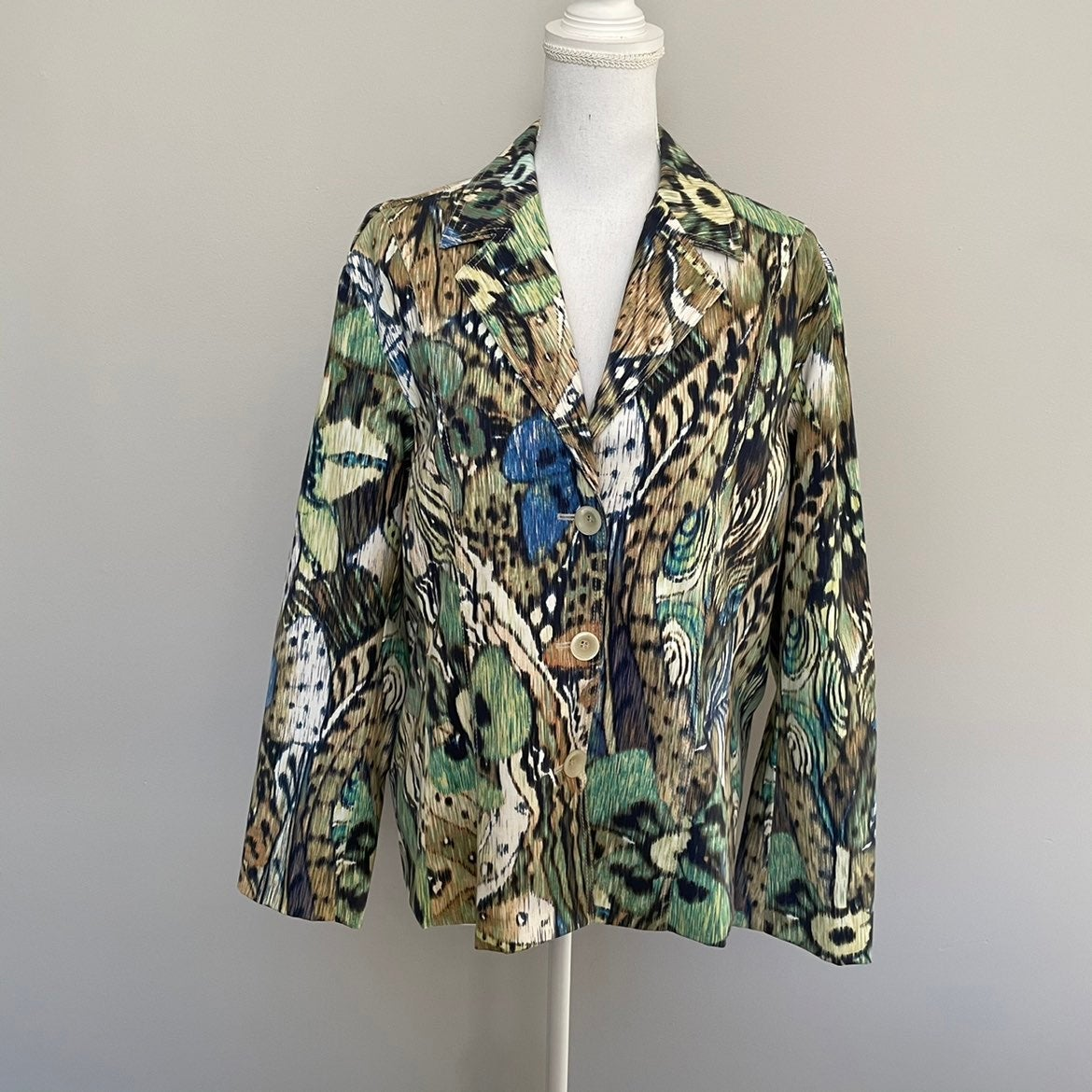 Chicos Jacket Blazer Floral Abstract