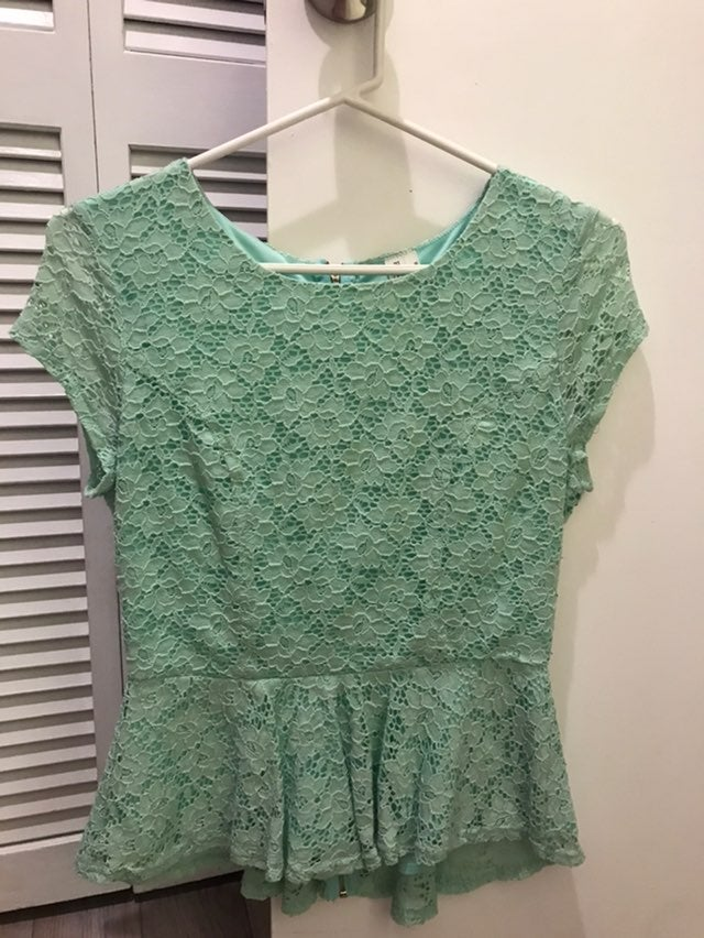 Mint green lace back zip top