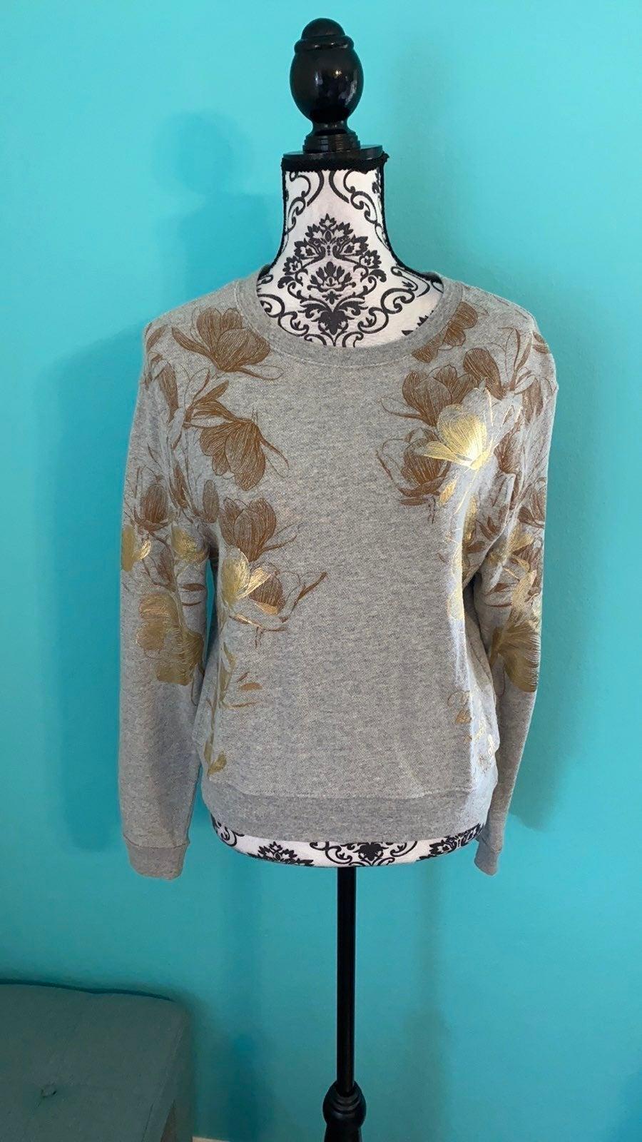 Disney Metallic Floral Sweater Top M