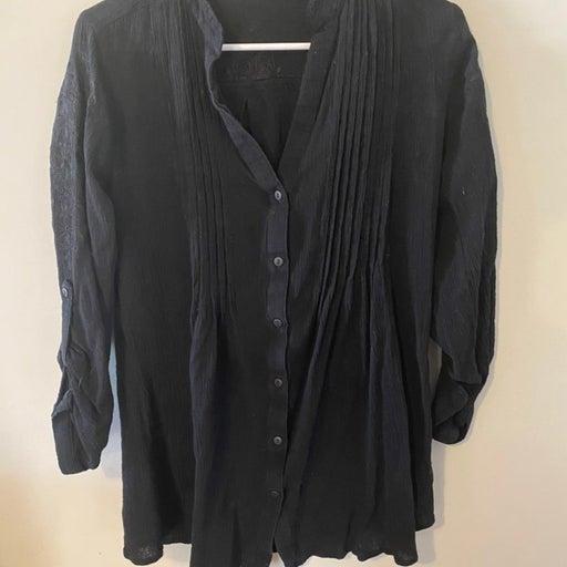 Soft surroundings S black cotton shirt top