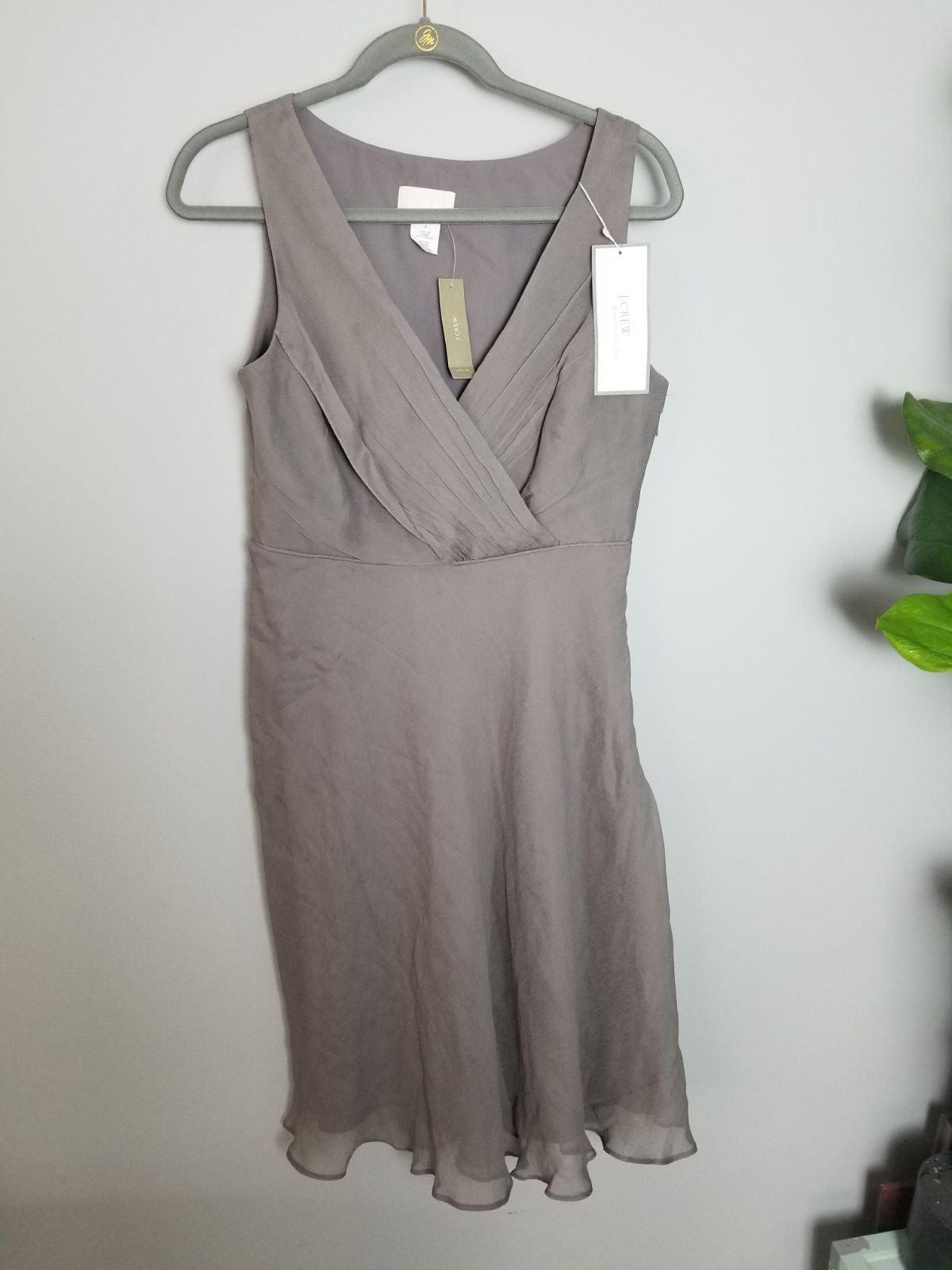 j crew dress gray silk size 8