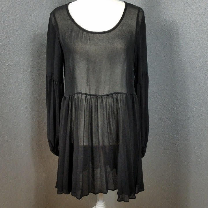 Lulu's Black Sheer Dress Size M Babydoll