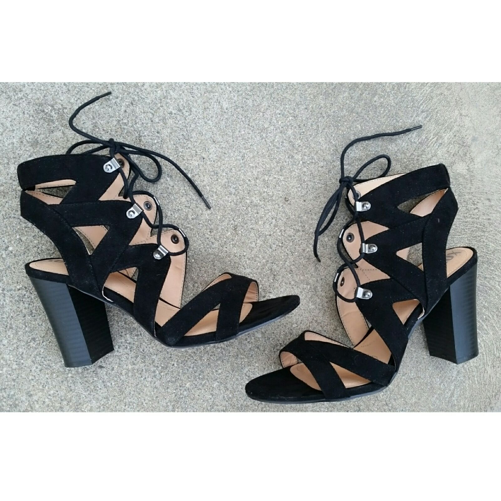 Black SEXY LACE UP STRAPPY SANDAL HEEL 9