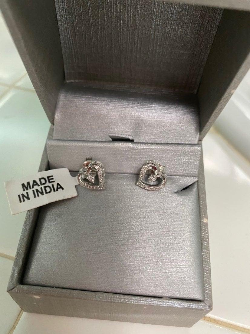 Diamond Heart Stud Earrings Silver